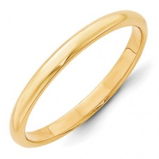 14KY 2.5mm Half Round Band Size 10