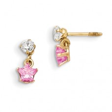 14k Madi K 3mm CZ with Dangling Pink CZ Star Earrings