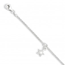 Sterling Silver Star Shapes with .75in ext. children's bracelet
