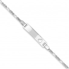 Sterling Silver Baby ID with Cut-out Heart Bracelet