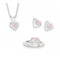 """Sterling Silver Childs 15"""" Necklace, Earrings & Size 3 Ring Set"""""""