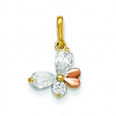 14k Yellow and Rose Gold CZ Children's Butterfly Pendant