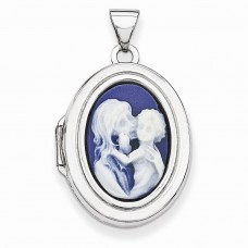 Sterling Silver Agate Cameo 21mm 2-Frame Oval Locket