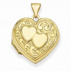 Flash Gold-plated Sterling Silver Double Heart Locket