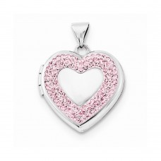Sterling Silver 18mm Heart Light Rose Swarovski Elements Border Locket