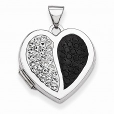 Sterling Silver 18mm Heart Black & White Swarovski Elements Locket