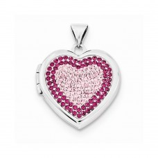 Sterling Silver 18mm Heart Rose/Light Rose Swarovski Elements Locket