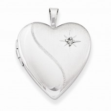 Sterling Silver 20mm Diamond Heart Locket