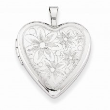 Sterling Silver 20mm with Daisies Heart Locket