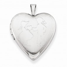 Sterling Silver 20mm Boy Giving a Heart to Girl Heart Locket