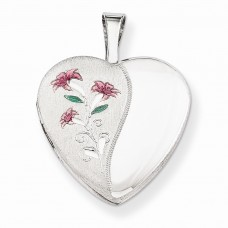 Sterling Silver 16mm Enameled Lily Heart Locket