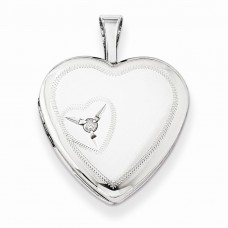 Sterling Silver 16mm Heart with Diamond Heart Locket