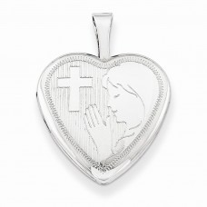 Sterling Silver 16mm Girls Communion Heart Locket