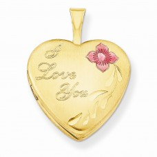 1/20 Gold Filled 16mm Enameled Flower I Love You Heart Locket