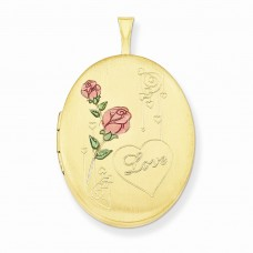 1/20 Gold Filled 26mm Enameled Roses with Love  Oval Locket