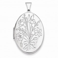 Sterling Silver Floral Bouquet Oval Locket
