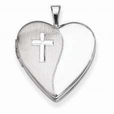 Sterling Silver 20mm Cross Satin/Polished Heart Locket