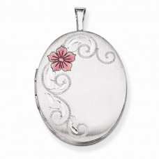 Sterling Silver 26mm Enameled Flower and Scroll Oval Locket