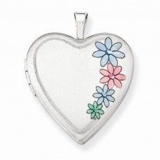 Sterling Silver 20mm Enameled Floral Heart Locket