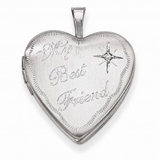Sterling Silver 20mm Best Friend with Diamond Heart Locket