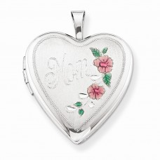 Sterling Silver 20mm Enameled Floral Mom Heart Locket