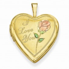 Gold Plated Sterling Silver 20mm D/C I Love You Heart Locket