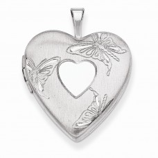 Sterling Silver 20mm D/C Butterflies Heart Locket