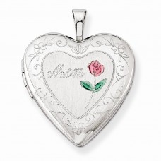 Sterling Silver 20mm D/C & Enameled Mom Heart Locket