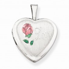 Sterling Silver 16mm Enameled & D/C Love Heart Locket