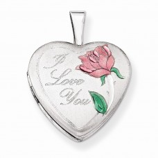 Sterling Silver 16mm Satin, Enameled, D/C I Love You Heart Locket""