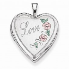 Sterling Silver 20mm D/C & Enameled Love Heart Locket