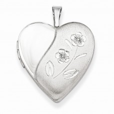 Sterling Silver 20mm D/C Floral Heart Locket