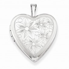 Sterling Silver 20mm Textured Daisies Heart Locket