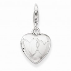 Sterling Silver Linked Hearts Lobster Clasp 12mm Heart Locket