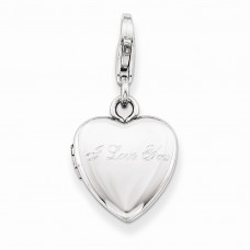 Sterling Silver I Love You Lobster Clasp 12mm Heart Locket