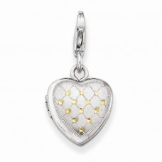 Sterling Silver Gold-plated Patterned Lobster Clasp 12mm Heart Locket