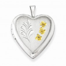 Sterling Silver Gold-plated Wheat 16mm Heart Locket