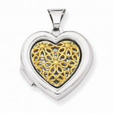 Sterling Silver Flash Gold Plated 18mm Heart Locket