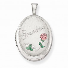 Sterling Silver 19mm Grandma Enamel Roses Oval Locket