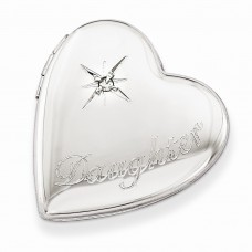 Sterling Silver 20mm Diamond Polished Daughter Heart Slide Locket