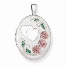 Sterling Silver 19mm Enamel Hearts & Flowers Oval Locket