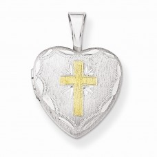 Sterling Silver Gold-plated Cross w/ Scallop Border 12mm Heart Locket