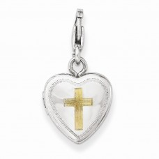 Sterling Silver Gold-plated Cross Lobster Clasp 12mm Heart Locket
