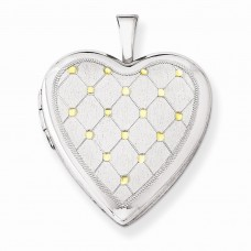 Sterling Silver Gold-plated Quilt Pattern 20mm Heart Locket