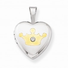 Sterling Silver Gold-plated & Diamond Crown 12mm Heart Locket