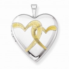 Sterling Silver Gold-plated Linked Hearts 20mm Heart Locket