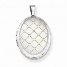 Sterling Silver Gold-plated Quilt Pattern 16mm Oval Locket