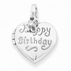 Sterling Silver 15mm Heart Happy 16th Birthday with CZ Locket