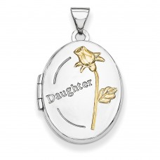 Sterling Silver w/Gold-plate 21mm Oval Daughter Locket
