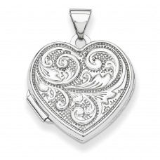 Sterling Silver 18mm Heart with Scrolls Locket